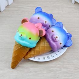 Jumbo rilakkuma squishy on-line-Squishy Jumbo 14 cm Kawaii Moleque Colorido Rilakkuma Urso Gostoso / Panda Ice Cream Super Lento Rising Strap Squeeze Pão Bolo Brinquedo de Presente