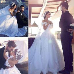Wholesale Vestido Dubai Bridal - 2018 Newest Lace Ball Gown Wedding Dresses Bridal Gowns Off Shoulder Floral Appliques Tulle Organza Backless Chapel Arabic Dubai Vestido