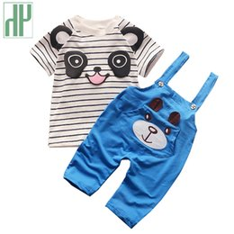 Baby boy clothing cotton short sleeve cartoon panda Tops+overalls Outfits  baby girl clothes summer casual infant baby Kids clothes e67c431b2ce5