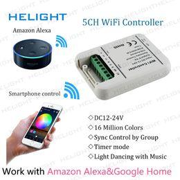 controlador wifi smartphone Rebajas Controlador de Wifi 5 canales RGB / RGBW / RGBWW strip Control de aplicación de teléfono inteligente para Amazon Alexa Google Página de inicio de Android MusicTimer IOS Android