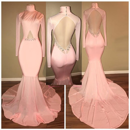 e98661a9b9cf0 2018 Plus Size High Neck Pink Prom Dresses With Long Sleeves Sexy Open Back  2018 Sweep Train Mermaid Evening Gowns open back plus size shirts outlet