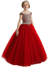afad89510 kids prom dresses size Coupons - Sparkly Shiny Beadings Girls Pageant  Dresses Ball Gown Off Shoulder