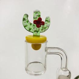 cúpula de óleo de unha de quartzo Desconto 30mm Tampa Do Carburador De Vidro Colorido Cactus Carbome Cúpula Para Bongos De Vidro Rigs De Óleo Térmica P Baz Unhas De Quartzo Prego Ferramenta Acessórios Fumar