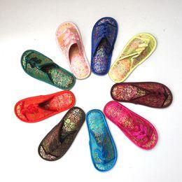 китайские каучуки Скидка Китайский узел шелковый атлас женщин домашние тапочки крытый резиновое дно дамы тапочки 1 пара