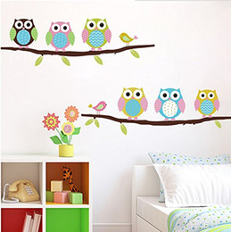 Wholesale Chinese Glass Art - Removable Home Decoration Nursery Decor Cute Cartoon Owl Pattern Baby Kids Bedroom Art Wall Decal Stickers