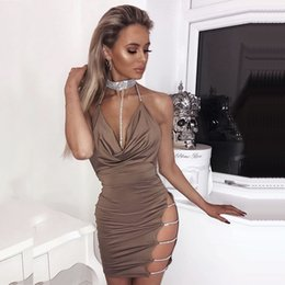 Wholesale Sexy Club Dresses Metallic - Women Sexy Halter Crystal Sequin Dresses 2018 Summer Backless Metallic Diamond Choker Bandage Club Bodycon Party Birthday Cocktail Dresses