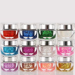 Wholesale Gel Nail Glitter Colors - 2016 New Supply 12 Colors Uv Gel Nail Polish Glitter Refinement Sequins Nail Gel Rhinestone Diamond Color Wholesale