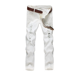 327fc54a12a6a Mens Ankle-Length Solid Hole Slim Fit Denim Jeans