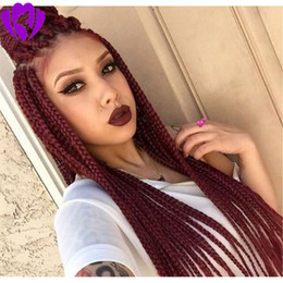 burgund rote haarfarbe Rabatt Lange 200density vollsynthetische Lace Front perücke Box Geflochtene perücken Für Afroamerikanerfrauen burgunder rote farbe Hitzebeständiges Haar