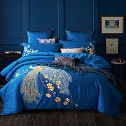 Wholesale King Size Peacock Bedding - Svetanya Peacock Embroidered Egyptian Cotton Bedding Sets Queen King Size flat Bedsheet Pillowcases Quilt Cover Set Blue Red