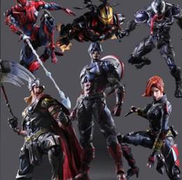 Wholesale Men Superheroes - Superhero Action Figure Black Widow Spiderman Iron Man Vemon Thor Captain America Model Brinquedos Play Arts Kai PVC Figure Toys