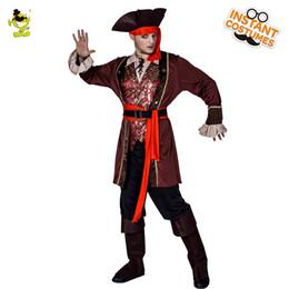 vestidos de diablo negro de halloween Rebajas Disfraz de pirata de lujo de los hombres de la fiesta de Halloween Juego de disfraces Disfraces de piratas trajes de alta calidad Fiesta de carnaval