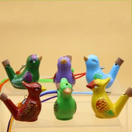 Wholesale Water Bird Whistle - Ceramics Water Bird Whistle Musical Toy Multi Color Animal Shape Whistles With Rope Children Toys 1 49mc C