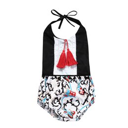Wholesale girls suspender pants - Girls Romper with Tassels Floral Printed Lantern Pants Summer Suspenders Sleeveless Jumpsuit Cotton Breathable Cool 0-24M