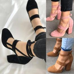 Zapatos de mujer de corte alto online-Las mujeres atractivas peep toe gladiador recorta atan para arriba vestido de tacón alto bombas zapatos de señora tamaño grande
