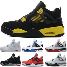 Wholesale Rubber Cement Plastic - 2018 new cheap 4 Basketball Shoes men women Pure Money Thunder White Cement bred Black Cat Fire Red Military Blue us5.5-13