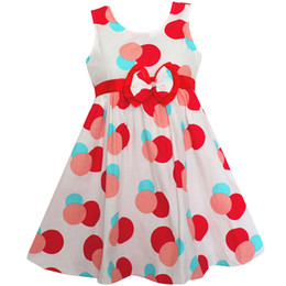 Cintura rossa del bambino online-Shybobbi Girls Dress Red Polka Dots Belt Cotton Party Casual Cute Baby Abbigliamento per bambini Taglia 4-10