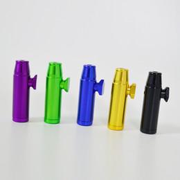 Mini Pipa da fumo da 2,1 pollici Bullet Snuff Sniffer Pipes Bruciatore di petrolio Tubo di metallo Snuff Dispenser Snack Rocket Mini Hand Pipes Accessori supplier bullet pipes da tubi proiettili fornitori