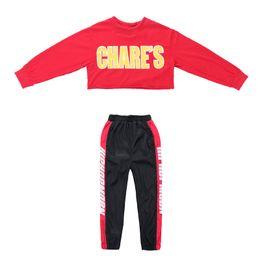 88b29f21fd4b2 Kid Cropped Sweat Shirt Jogger Pantalons Vêtements Hip Hop Vêtements Danse  Jazz Costume pour les filles Garçons Ballroom Dancing Streetwear