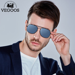 915d6141d3de1 VEGOOS Polarizada Homens Óculos De Sol De Aviador de Aço Inoxidável Quadro Espelhado  Lentes de Moda Retro Elegante Óculos de Sol Unisex   3172