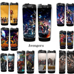 Wholesale infinity stainless wholesale - Marvel Avengers Infinity War Cups double insulated vacuum cups Superhero Thanos Stainless Steel Kids water bottles Hydration Gear AAA442