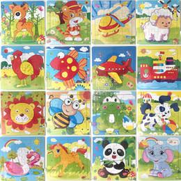 2019 kindergarten kinder spiele 16 stücke Holz Puzzle Kindergarten Baby Spielzeug Kinder Tiere Holz 3D Puzzles Kinder Bausteine Funny Game Lernspielzeug C5351 günstig kindergarten kinder spiele