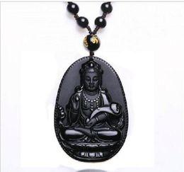 Jade ruyi online-Collar de obsidiana natural moda negro Ruyi Guan Yin colgante para mujeres hombres Vintage adornos de joyería de jade fino