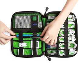 Wholesale Fabric Storage Organizers - 20cm Large Shockproof USB Cable Earphone Storage Bag Flash Drive Organizer Digital Gadget Holder Travel Cellphone Mobile Charger Case