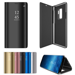 Wholesale Note View Cover - Luxury Electroplate Clear Smart Kickstand Mirror View Leather Case Flip Cover For Samsung S9 Plus S8 Note 8 S7 Edge S6 Edge iPhone X 8 7 6S