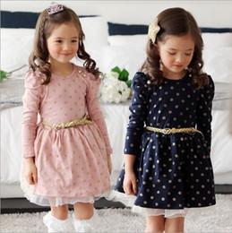 punto di vestito in stile coreano Sconti Ragazze Abiti Autunno Dot Cintura abiti per bambini Ragazze Pizzo Abito da principessa Toddler stile coreano Pettiskirt Bambini abiti firmati YL712