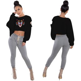 Wholesale tiger head pullover - Tiger Head Crop Top T Shirts Printed Women Long Sleeve Round Neck Short Pullover Tee Shirts 7 Styles FFA168