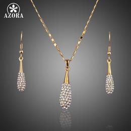 Orecchini a goccia azora online-AZORA oro colore cristallo austriaco Stellux goccia d'acqua goccia orecchini e ciondolo collana set TG0022