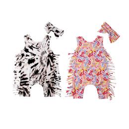 Leopardo romper roupa on-line-Duas Cores Bebê Recém-nascido Meninas Da Criança Borla Leopardo Macacão Bodysuit Com Headband 2 pcs set Outfits Roupa Infantil 0-24 M