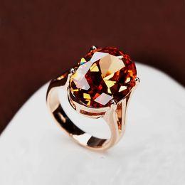 Wholesale Wholesale Large Stones Jewelry - Wholesale- Brilliant Amazing Big Champagne CZ Stone Ring Large Single Oval Orange Crystal Cut Luxury Ring Gold Color Women Jewelry