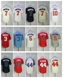 Wholesale Ivory Jones - Men's Jersey 5 Freddie Freeman 3 Dale Murphy 7 Dansby Swanson 10 Chipper Jones 44 Hank Aaron Baseball Jerseys