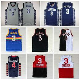 Wholesale Dark Green Jersey - Dark Blue Grey Allen Iverson College Adult Jersey Georgetown Hoyas Basketball Clothes Throwback Allen Iverson Uniforms 100% Stitched