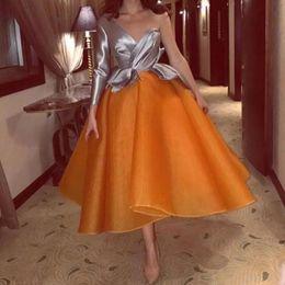 Wholesale Short Sleeve Modest Formal Dress - Modest 2017 Grey One Shoulder Long Sleeve Top Orange Organza Tea Length Prom Dresses Formal Dresses Party Evening Wear Custom EN12184