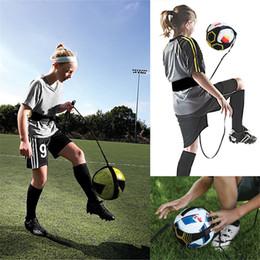 Wholesale equipment for football - Kick Solo Soccer Football Trainer Training Aid Practice Tool For Kids Adult Black training school equipment FFA568 20PCS