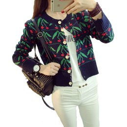 Wholesale Cardigan College Sweater Women - Spring autumn Korean women cardigan cherry college wind hit spell color sweater cardigan fashion loose Knitted female Sweater