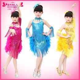 Wholesale Latin Dancewear - Girls Latin Dancewear Performance Costumes Tassels Backless Gymnastics Tap Dance Leotard Outfits Children's Dress