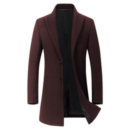 Мужское длинное черное зимнее пальто онлайн-Fall simplicity Winter Coat Long men Thick Jacket Turn-down Collar Solid Single Breasted Pockets Red Grey Mens Black Trench