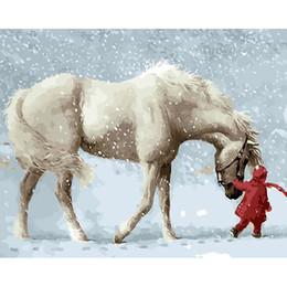 2019 ручная роспись маслом будды Бескаркасных снег лошадь животных Diy цифровой живописи по номерам наборы акриловая краска по номерам уникальный подарок для домашнего декора 40x50cm