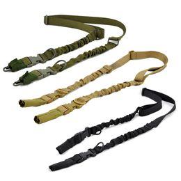 fusil de rifle táctico Rebajas Tactical Combat 2 Point Rifle Sling Ajustable Ligero Durable Nylon Gun Sling Airsoft deportes Caza ajustable bungee Gun Correa