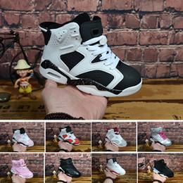 buy popular 34a0b 8d203 6 carminio scarpe da basket per bambini 6s UNC nero blu bianco infrarosso  ragazzi ragazze oreo nero gatto scarpe da ginnastica grandi bambini size5.5- 13 ...