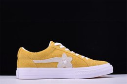 Wholesale Women Hip Hop Shoes - One Star Creator X Tyler Golf Le Fleur Chamois Men's Sports and Leisure Shoes Women's Skateboard Shoes Yellow Canvas Shoe Hip Hop