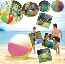 Wholesale Inflatable Christmas - Newest 75CM Inflatable Beach Water Ball Fun Spray Outdoor Summer Water Float Toy Lawn Sprinkler Home Kids Children Toys Party Supplies I279