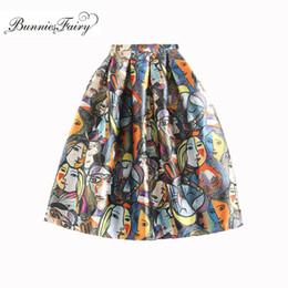 Alta falda de soplo de cintura online-BunniesFairy 2017 Otoño Nueva Llegada Niñas Personaje de Dibujos Animados de Impresión Floral de Cintura Alta Puff Plisada Falda Midi Tutu Ropa Casual