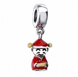 Pulseras de marca china online-Nueva Auténtico 925 de plata del encanto del esmalte rojo de dios chino de prosperidad granos pendientes de la suerte de la fortuna adapta Marca pulseras DIY joyería