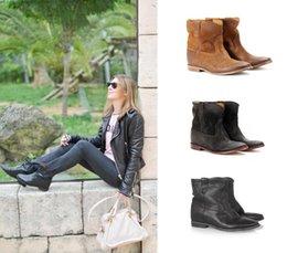 Bottines en daim façon daim Crisi femme chaussures compensées style occidental Bottines moto en détresse glisser sur des talons croissants cachés Botas ? partir de fabricateur