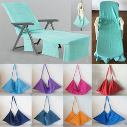 Wholesale portable beach chairs - Portable Beach Chair Cover Beach Towel Microfiber Pool Lounge Chair Cover Blankets With Strap Beach Towels Double Layer Blanket HH7-412